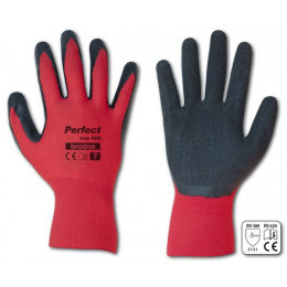 Rukavice ochranné PERFECT GRIP RED, latex, velkosť 7